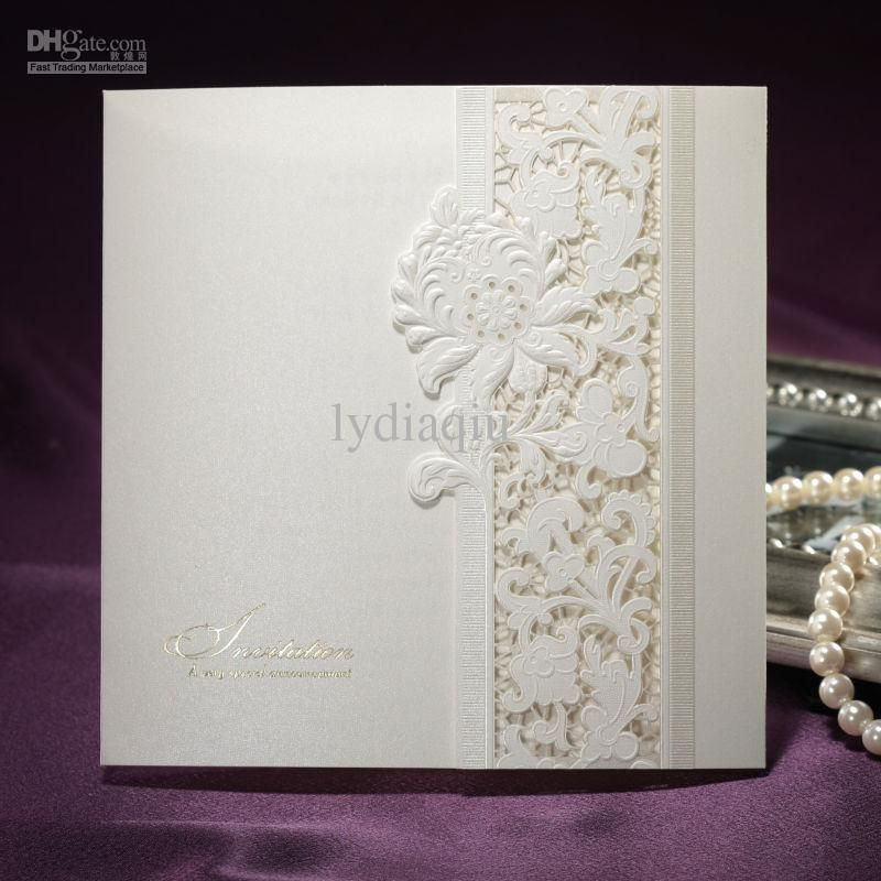 B0036 Pure Ivory Lace Cut-out Folded Pearl Paper Wedding Invitations ...