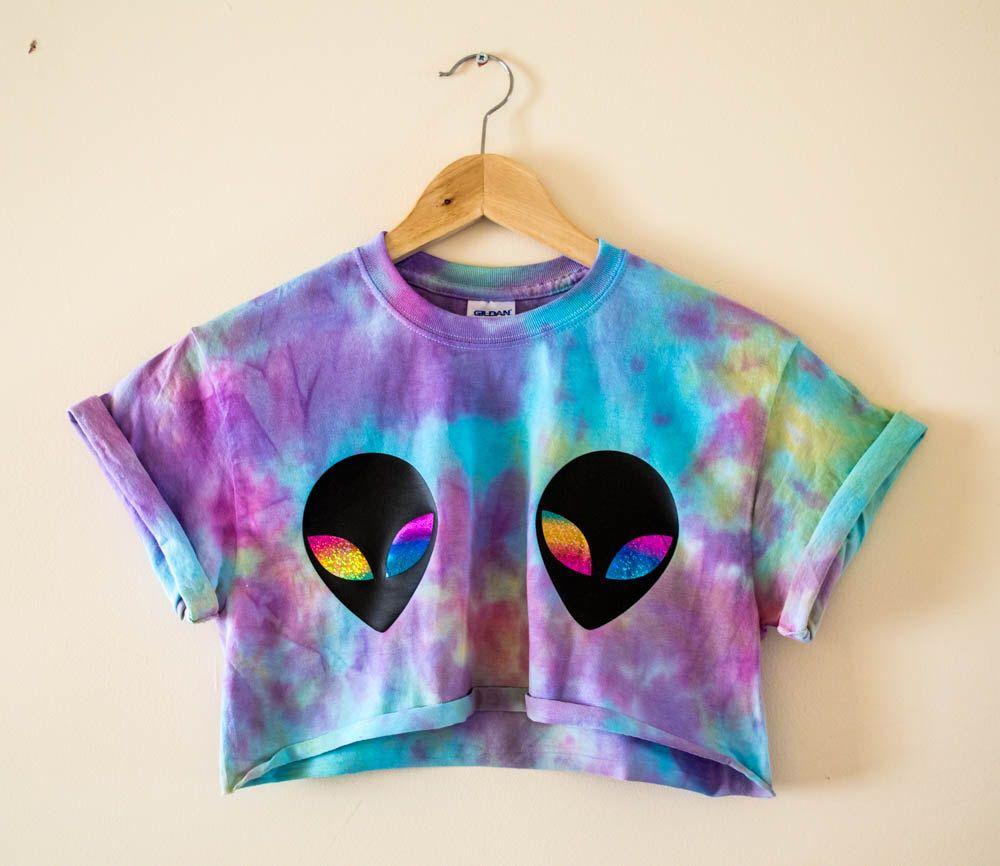 393d7f07b28bee Tie Dye Alien Crop Top S M L XL