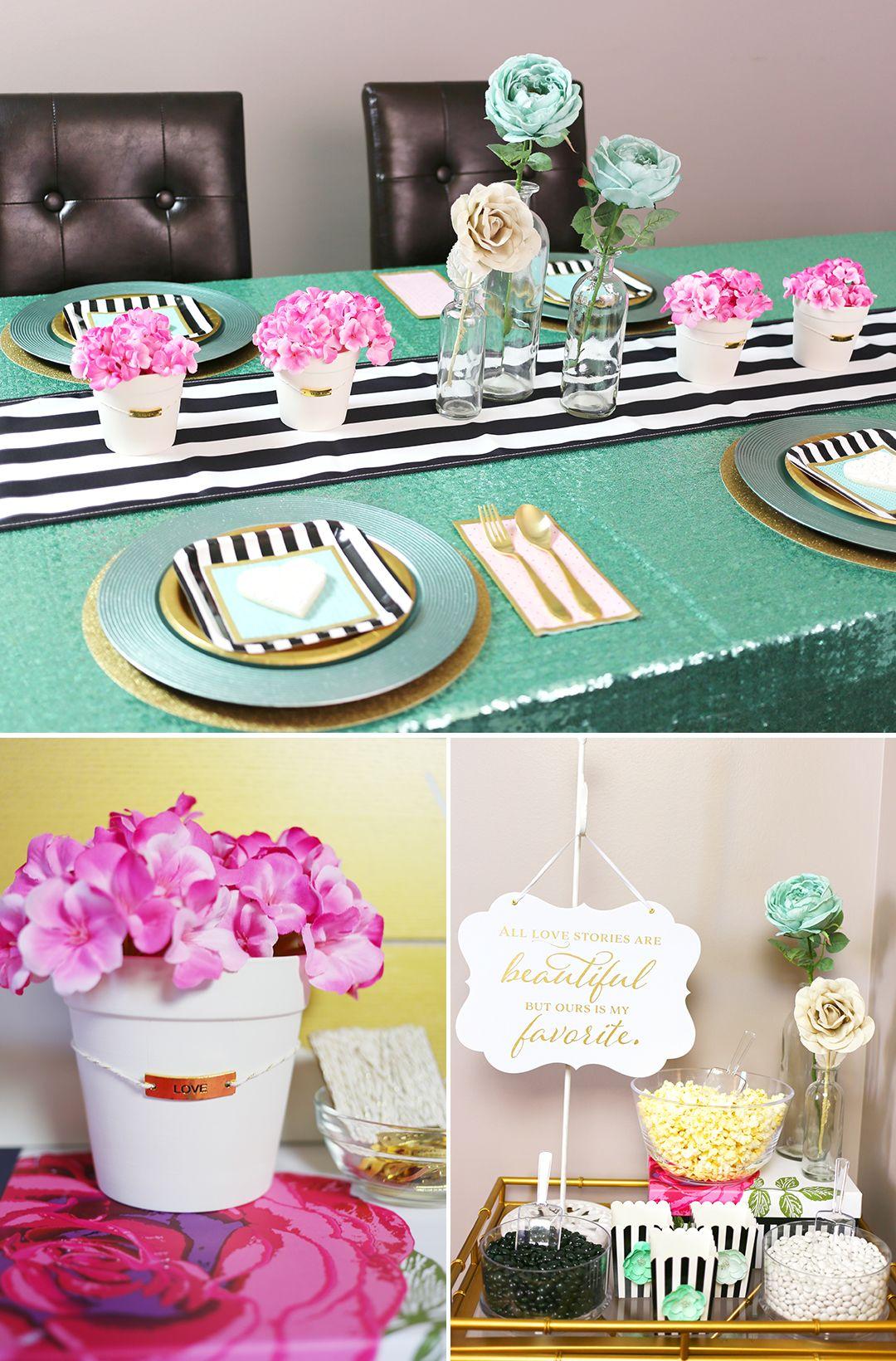 Modern Pink, Aqua, Gold Black and White Bridal Shower