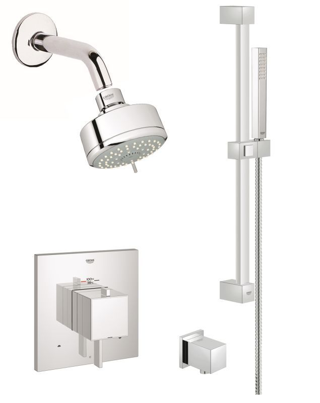 Grohe GSS-Eurocube-DTH-03 Eurocube Thermostatic Shower System with ...