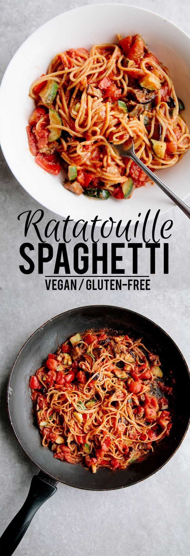 One-Pot Ratatouille Spaghetti (Vegan + GF) #rezepteherbst