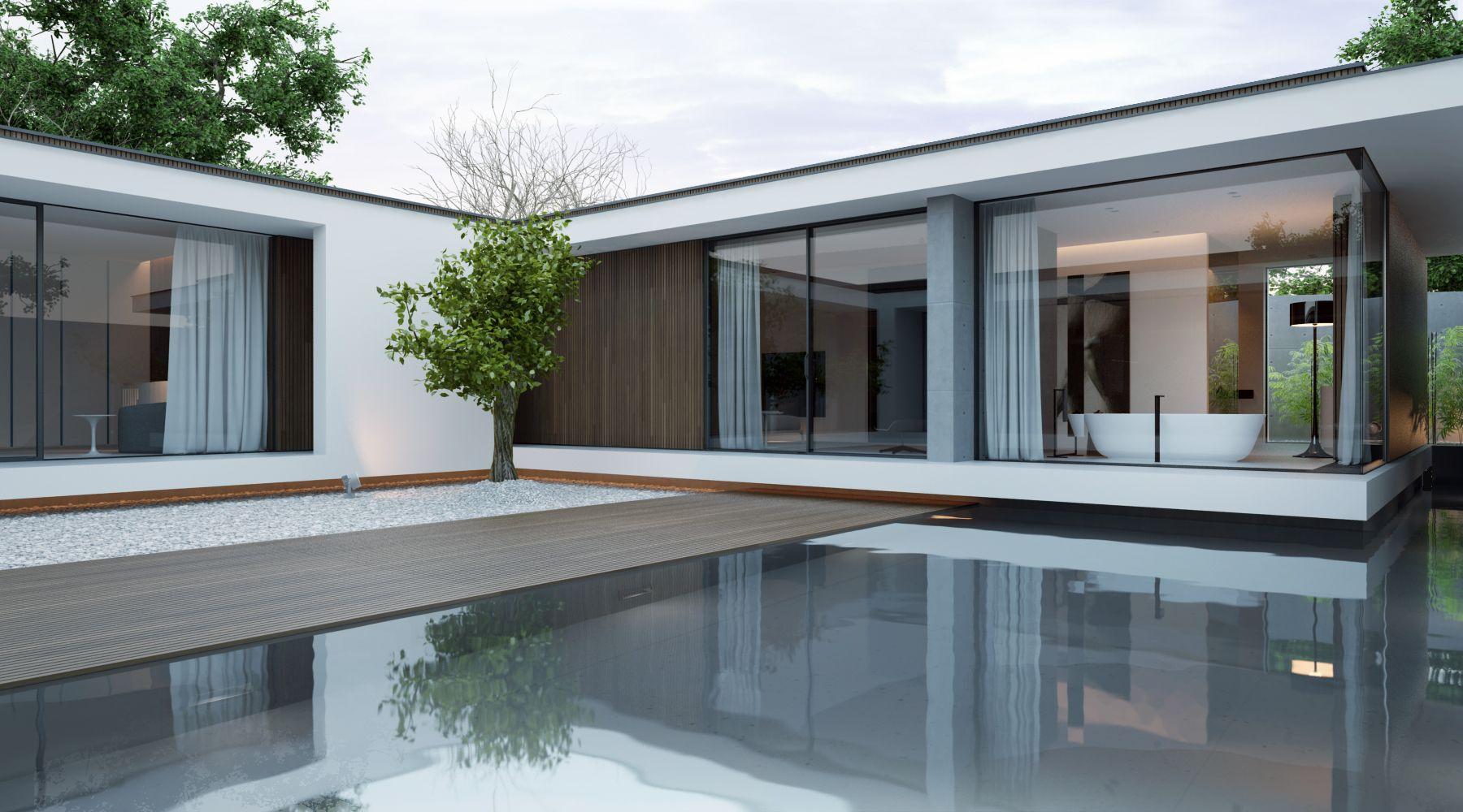 Kleines haus außendesign piano house mooie combinatie oversteken glaswerk en hout tevens