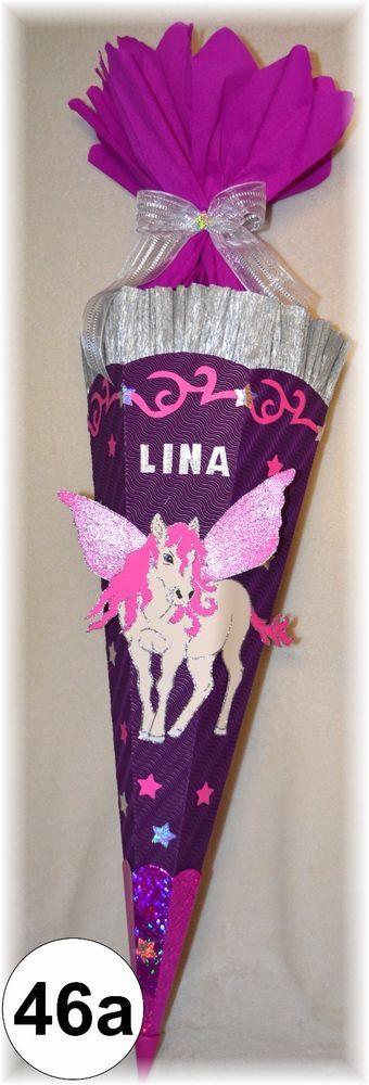 Schultüte Zuckertüte PEGASUS Einhorn Pferd lila violett rosa Handarbeit