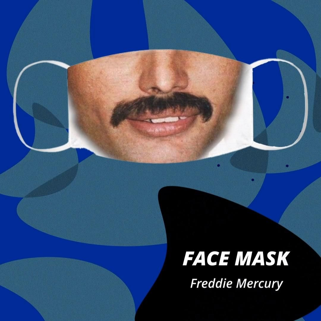 Freddie Mercury Face Mask, Funny Mouth Smile, Snug-Fit Polyester Face Mask, Made in USA