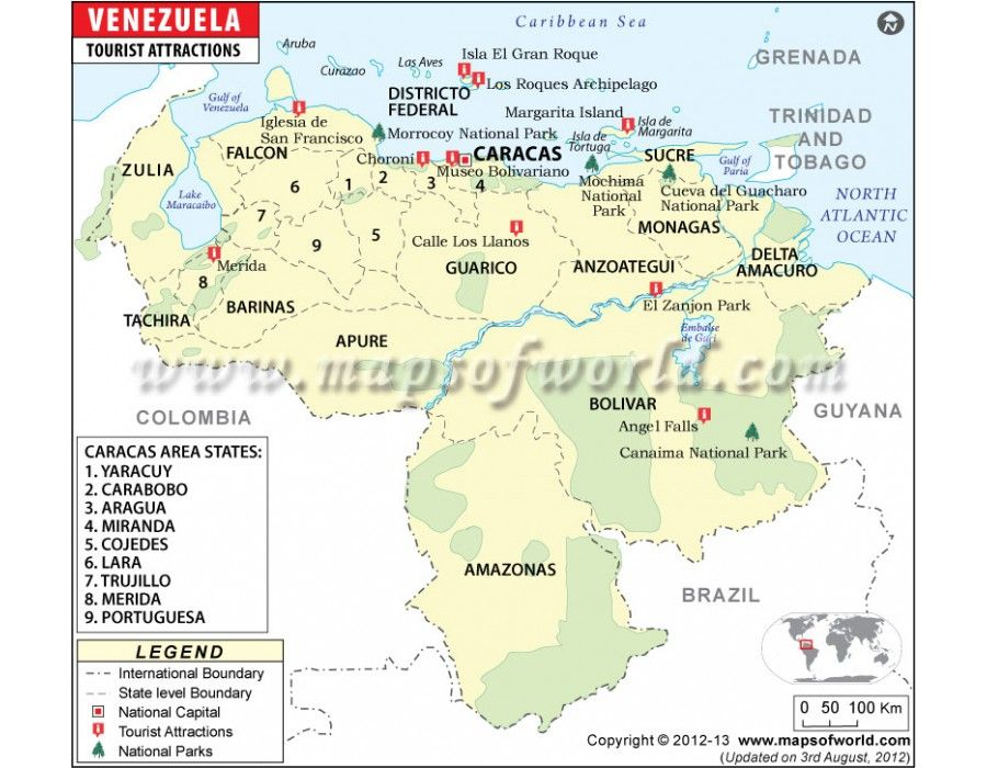 Vector Map of Venezuela with Tourist Attractions Country Maps