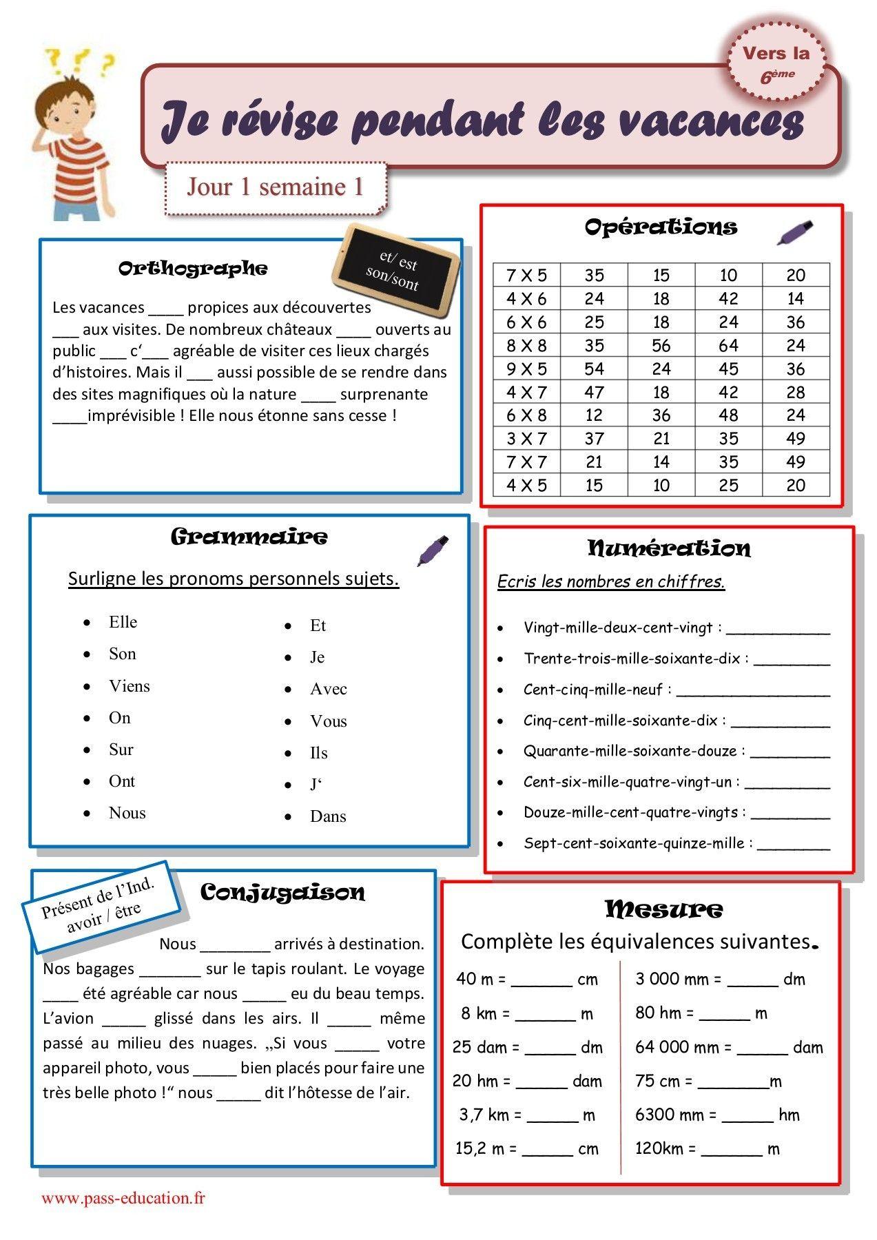Cahier De Vacances Gratuit À Imprimer - Cm2 Vers La 6Ème ...