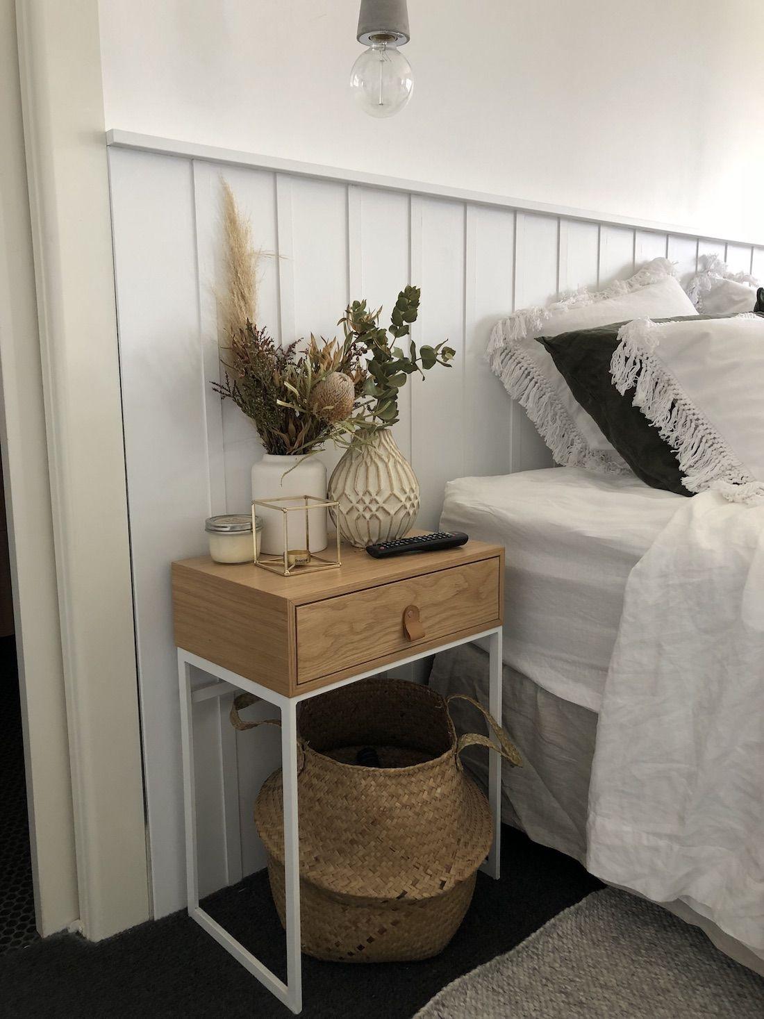DIY wall panel bedhead Feature wall bedroom, Bedroom