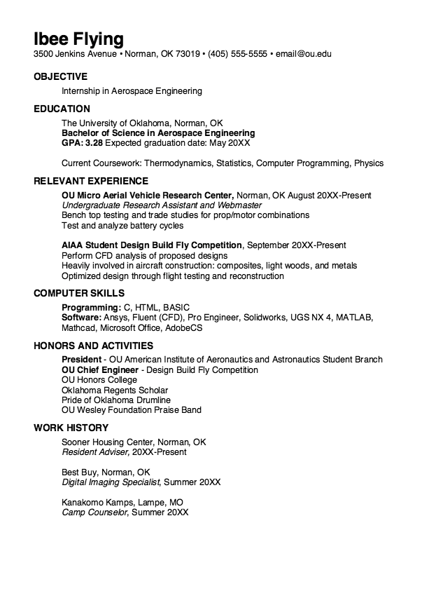 example of aerospace engineering resume httpexampleresumecvorgexample
