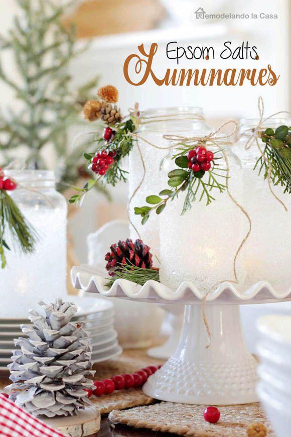 Epsom Salts Luminaries Homemade Christmas Table Decorations Cheap Christmas Lights Christmas Table Decorations