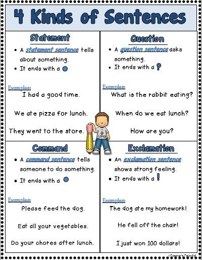 different types of sentences with examples