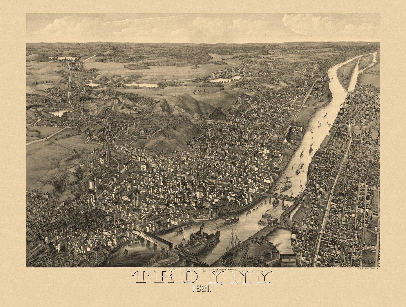 16x24 San Diego California 1876 Historic Panoramic Town Map