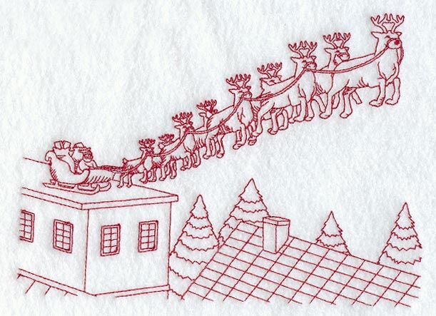 Christmas Redwork Hand Embroidery Free Redwork Santa Embroidery