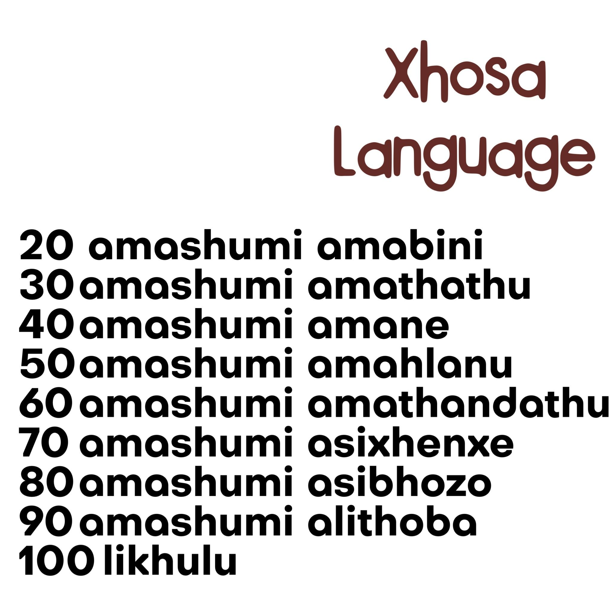 Counting In Xhosa language spoken in South Africa and