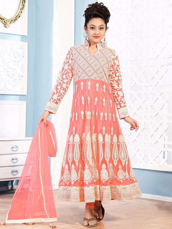 Pink Net Party Wear Girls Anarkali Salwar Suit | kids fashion ...