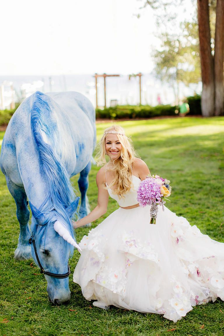 2f0978d3567 A fairytale wedding is not complete without a unicorn!    Bridal Designer  Hayley Paige s Own Wedding