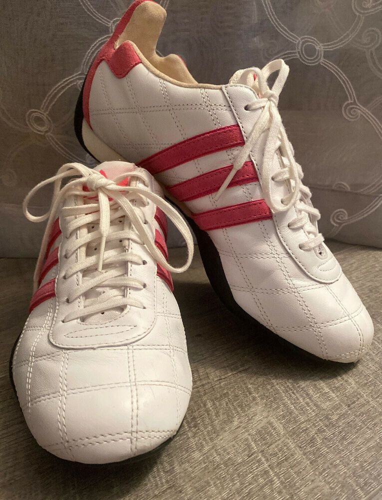 pequeño almacenamiento Arturo  ADIDAS TUSCANY women Goodyear Driving Sneakers shoes White-Pink Leather  7.5m #adidas #DrivingShoes | Sneakers, Womens sandals wedges, Pink leather