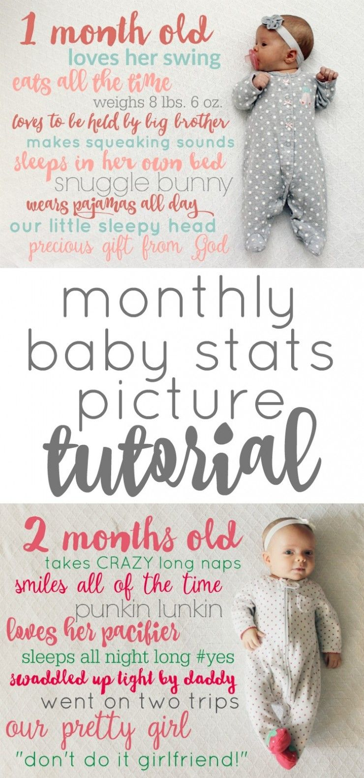 Monthly Baby Stats Picture Idea and Tutorial: Child at Heart Blog Baby  Monthly Picture Idea that is FREE and makes a wonderful keepsake from your  babies ...