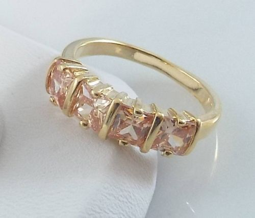 Ladies Champagne CZ Gold Ring~18K Yellow Gold Overlay Size 6- Free Gift Box