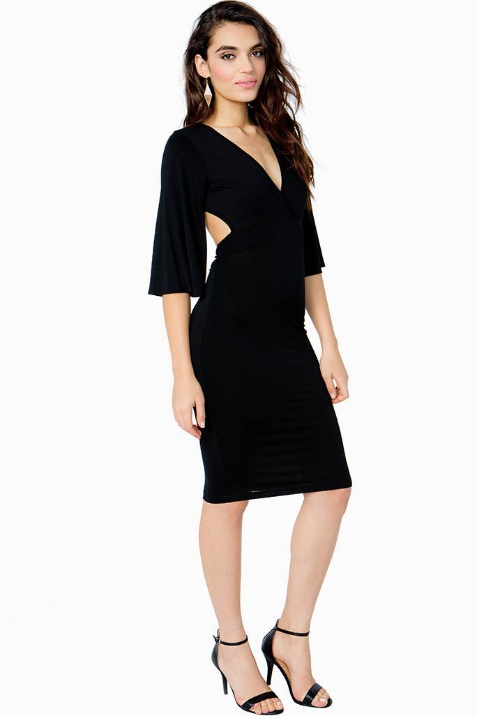 Modern and feminine midi dress, featuring a versatile wrap front with tie at back, plus a super sexy open back. Bell sleeves. Wow at your next date night with stiletto heels and simple jewelry.