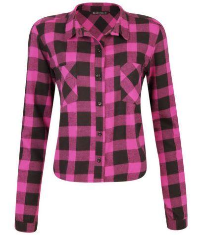 camisas xadrez feminina rosa e preta …  02600f0830b93