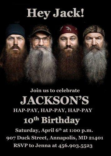 Duck Dynasty Birthday Party Invitation Printable Caydens B Day