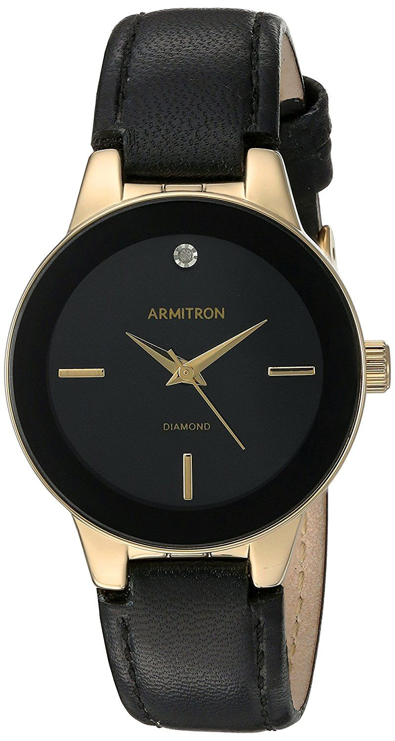 Armitron Women's Quartz Metal and Leather Dress Watch, Color:Black (Model: 75/5410BKGPBK) ** Check out the watch by visiting the link.