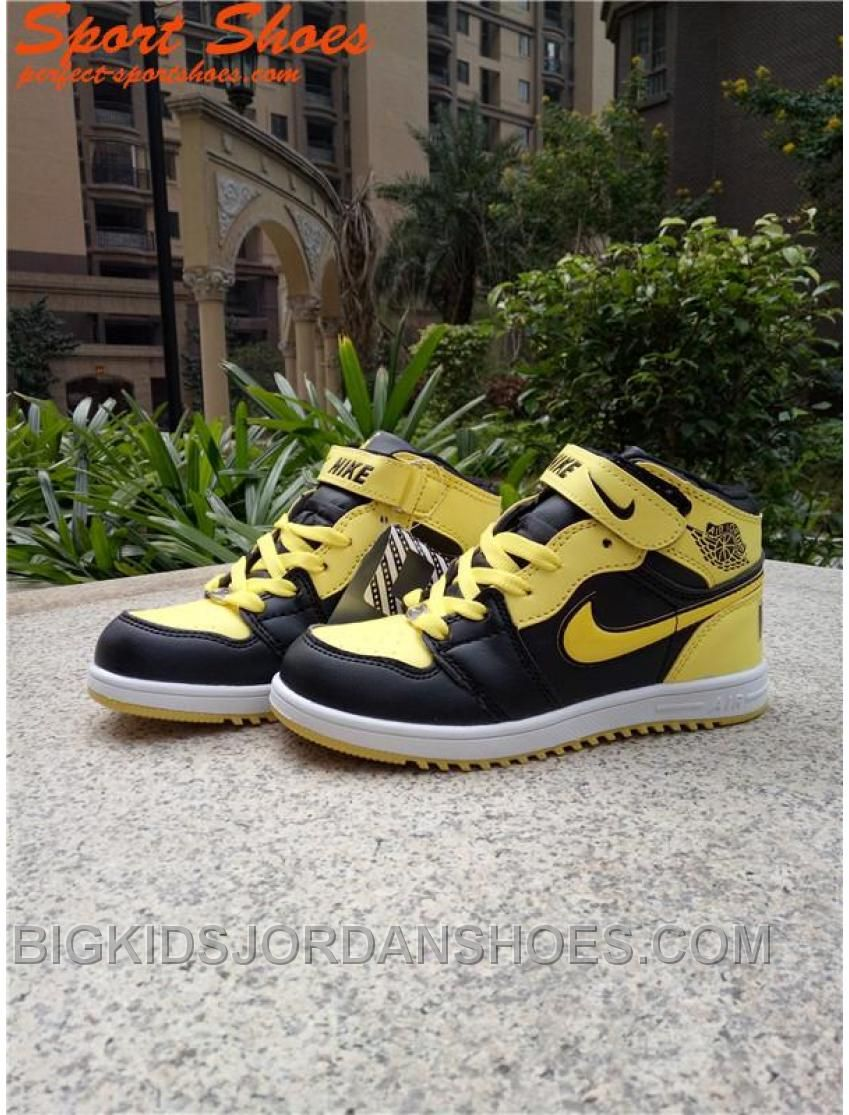 size 40 1fc0e c9cca 2017 Air Jordan 1 Kids Sneakers Yallow Black Hot | Jordan 23 ...