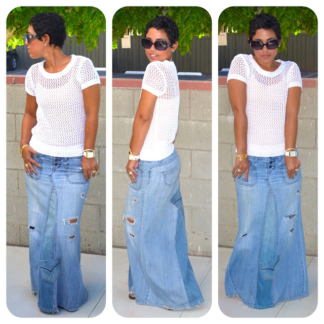 Reconstructed Jeans to Maxi Tutorial