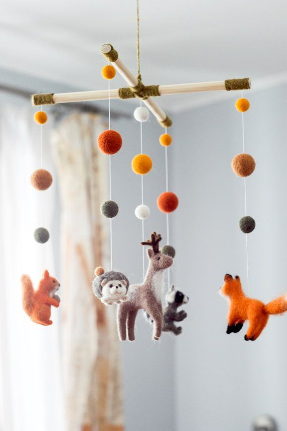 needle felted baby mobile forest animals woodland baby crib mobile nursery decor baby shower. Black Bedroom Furniture Sets. Home Design Ideas