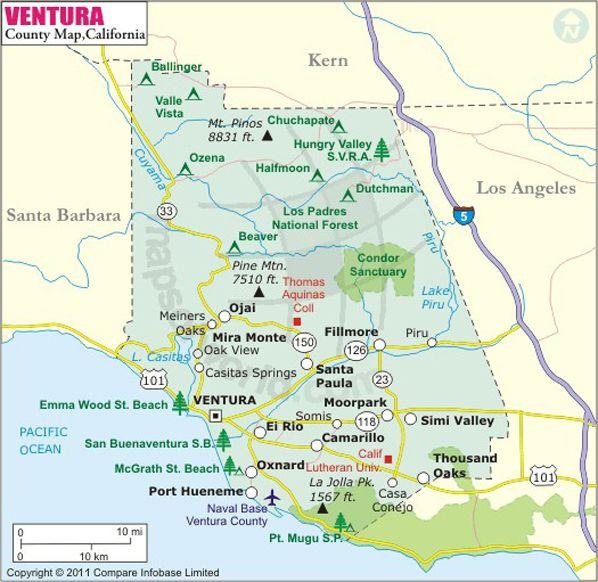 Buy Ventura County Map Ventura County County Map California Map