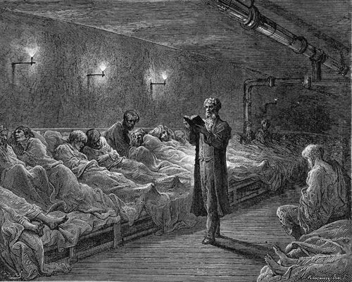 Scripture Reading in a Night Refuge  1872 --- by Gustave Dore --- Image by © Stapleton Collection/Corbis