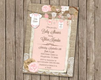Rustic Baby Girl Shower Invitation in Pink with Footprints Burlap