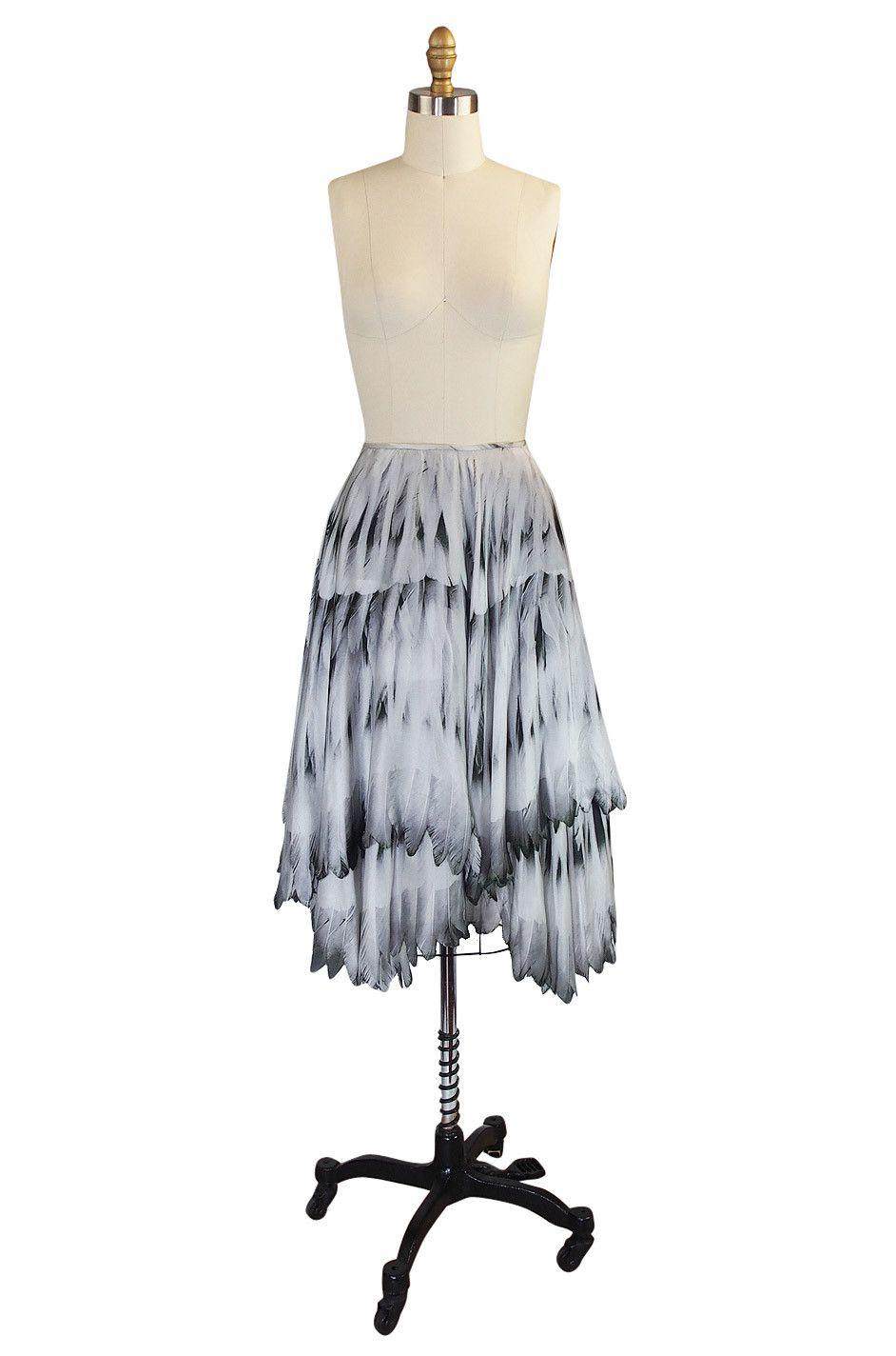 Recent Feather Print Alexander McQueen Skirt