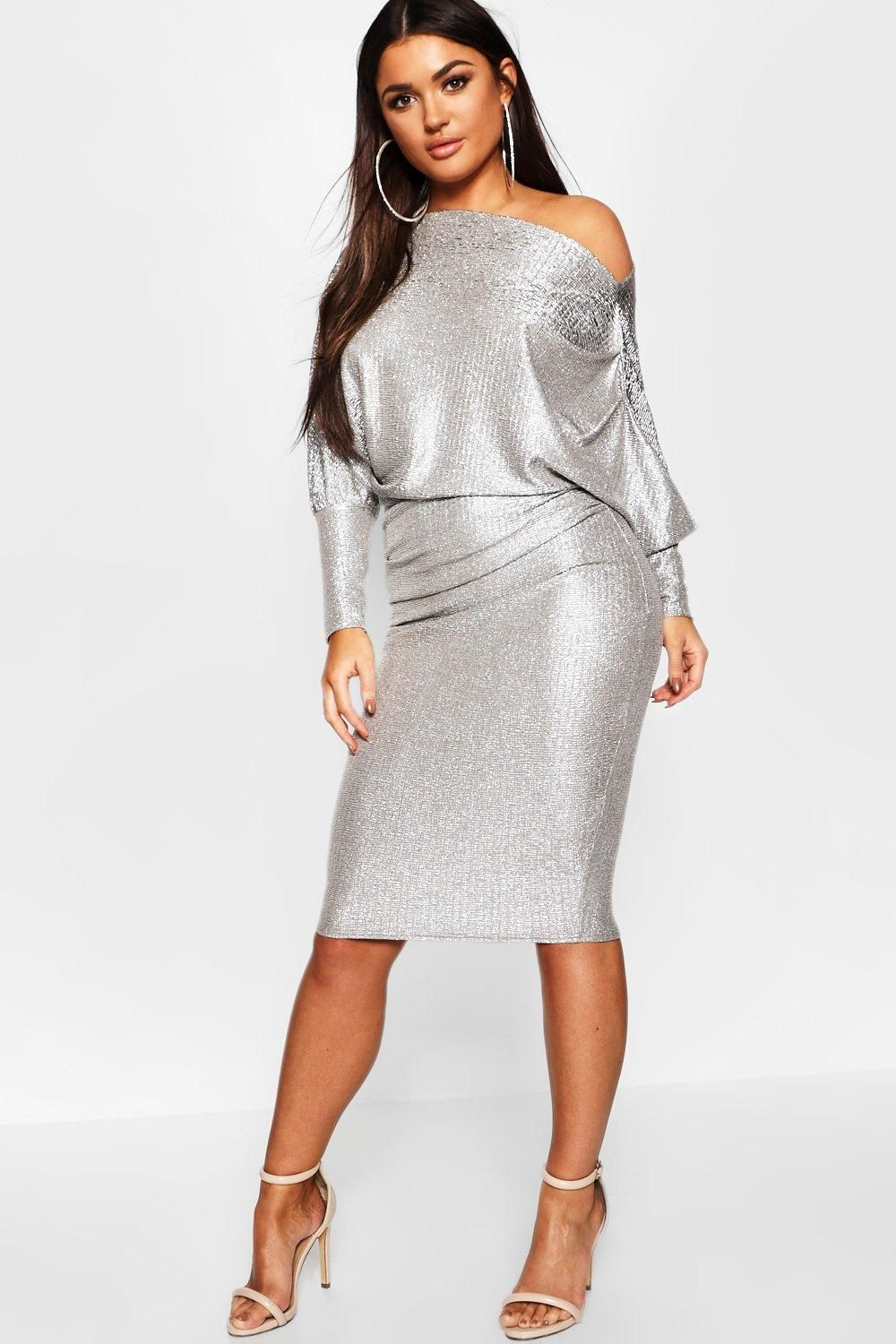 bf806c1ec0b Click here to find out about the Off The Shoulder Metallic Midi Bodycon  Dress from Boohoo