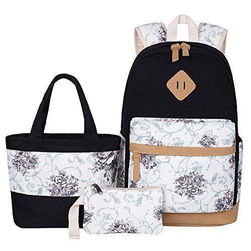 Douguyan Madchen Schulrucksack Damen Vintage Canvas Rucksack Campus Backpack Girls Retro Baumwoll Schultasche Schulranzen Mit Blumen Student Backpack For School
