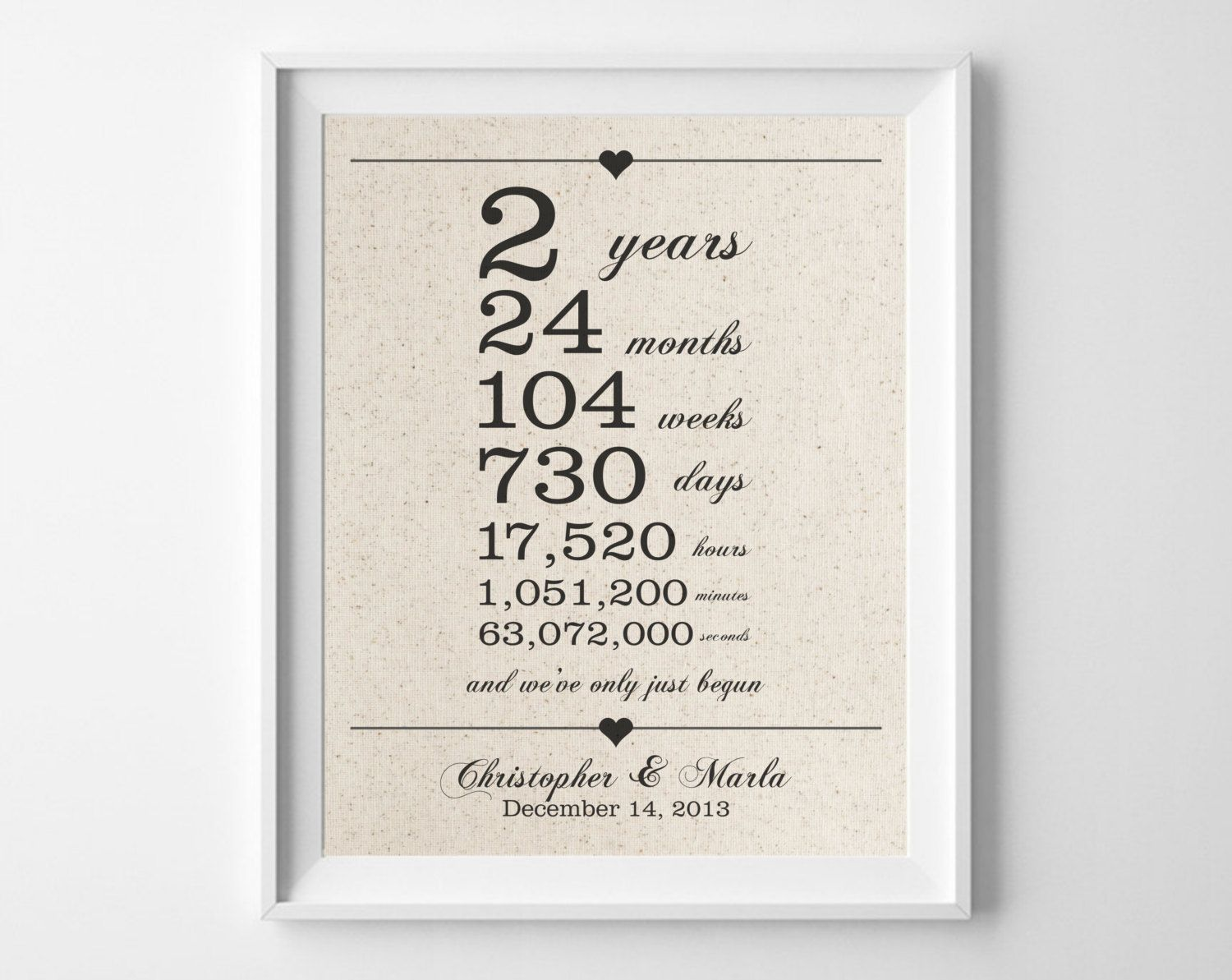 2 years together  Cotton Anniversary Print  2nd Anniversary  Days Hours Minutes Seconds