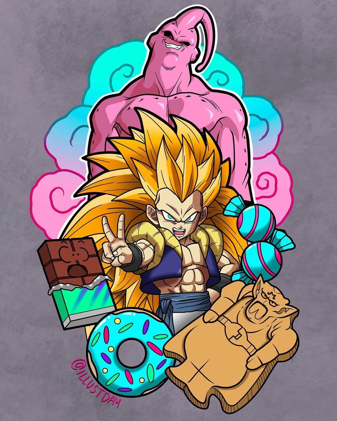 Gotenks Majin Buu Dragon Ball Z Dragon Ball Wallpapers Dragon Ball Artwork Dragon Ball Art