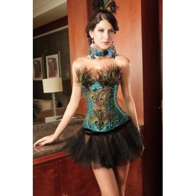 Corset couleur sublime et décoré de plume de poan