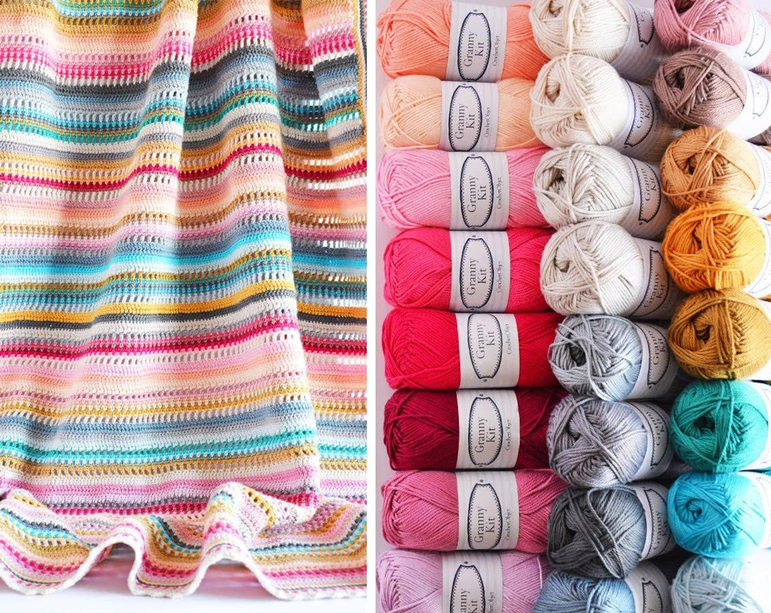 Free Shipping Cotton Yarn Pack Crochet Blanket Stripes And Etsy Crochet Blanket Striped Crochet Blanket Crochet Blanket Patterns