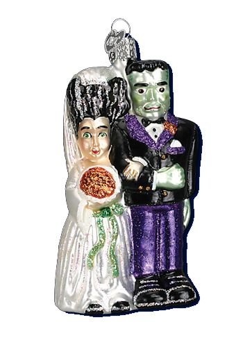 Frankenstein and Bride Glass Ornament Glass Ornaments by Merck ...