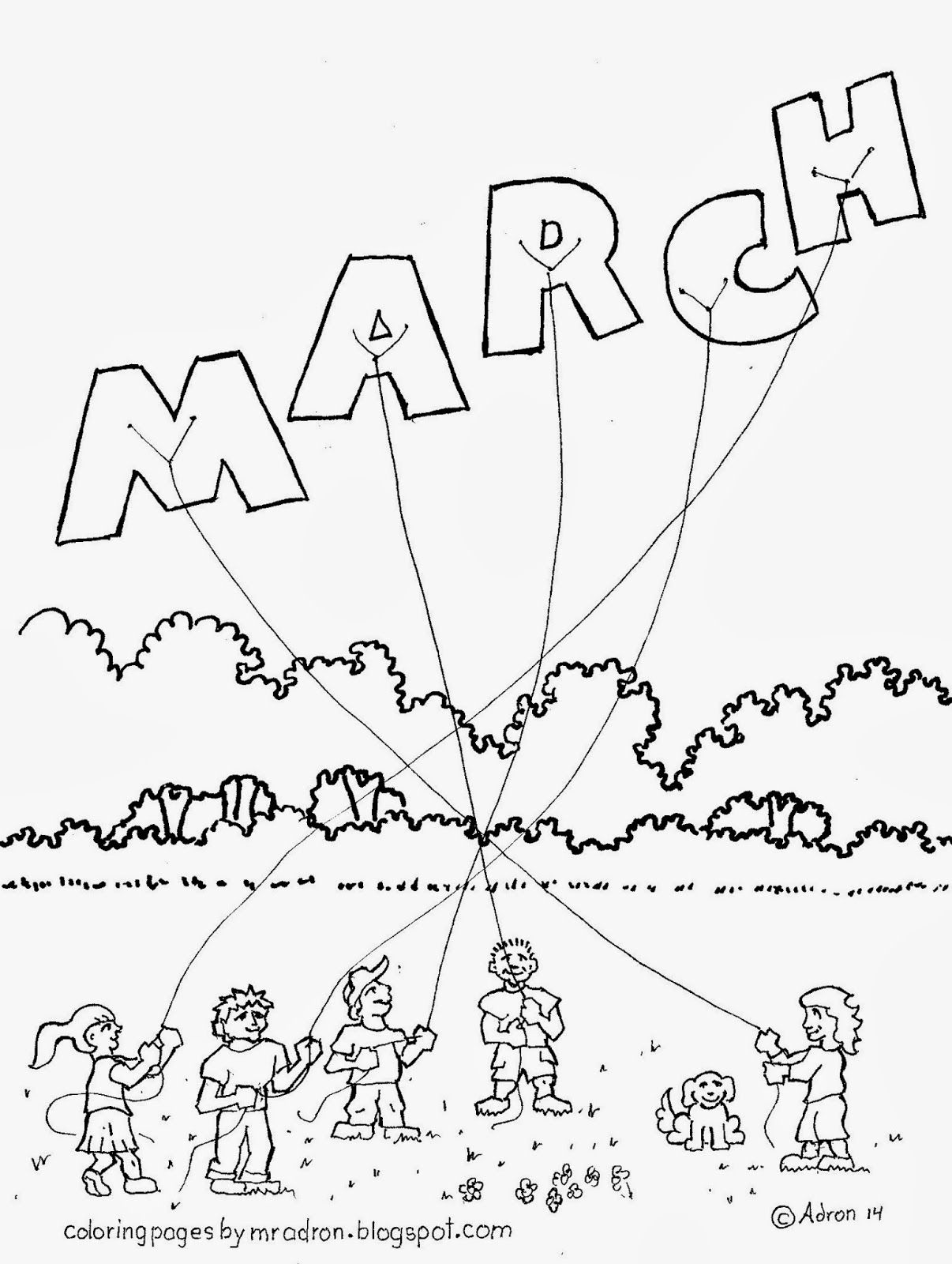 Month Of March Free Coloring Page For Kids Free Decorazioni