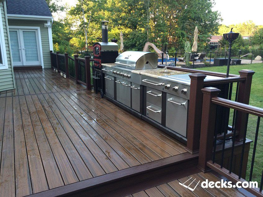 Built In Grill On Wood Deck Small Outdoor Kitchens Backyard Patio