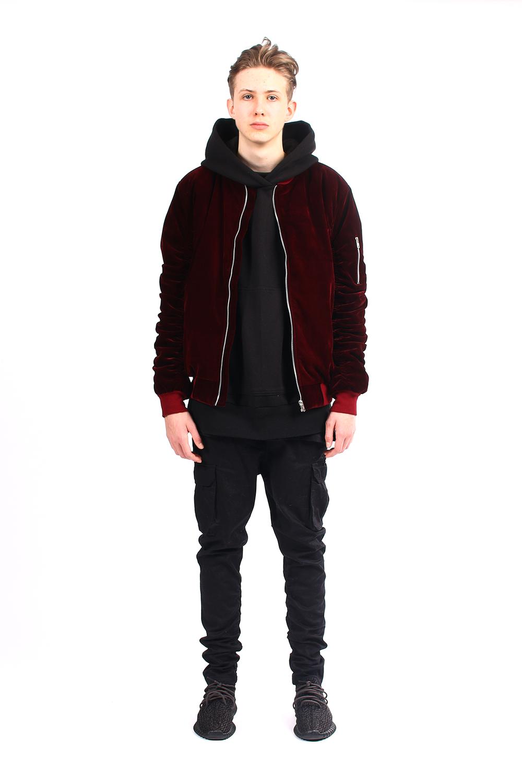 black moniker - maroon velvet bomber jacket | men's outerwear