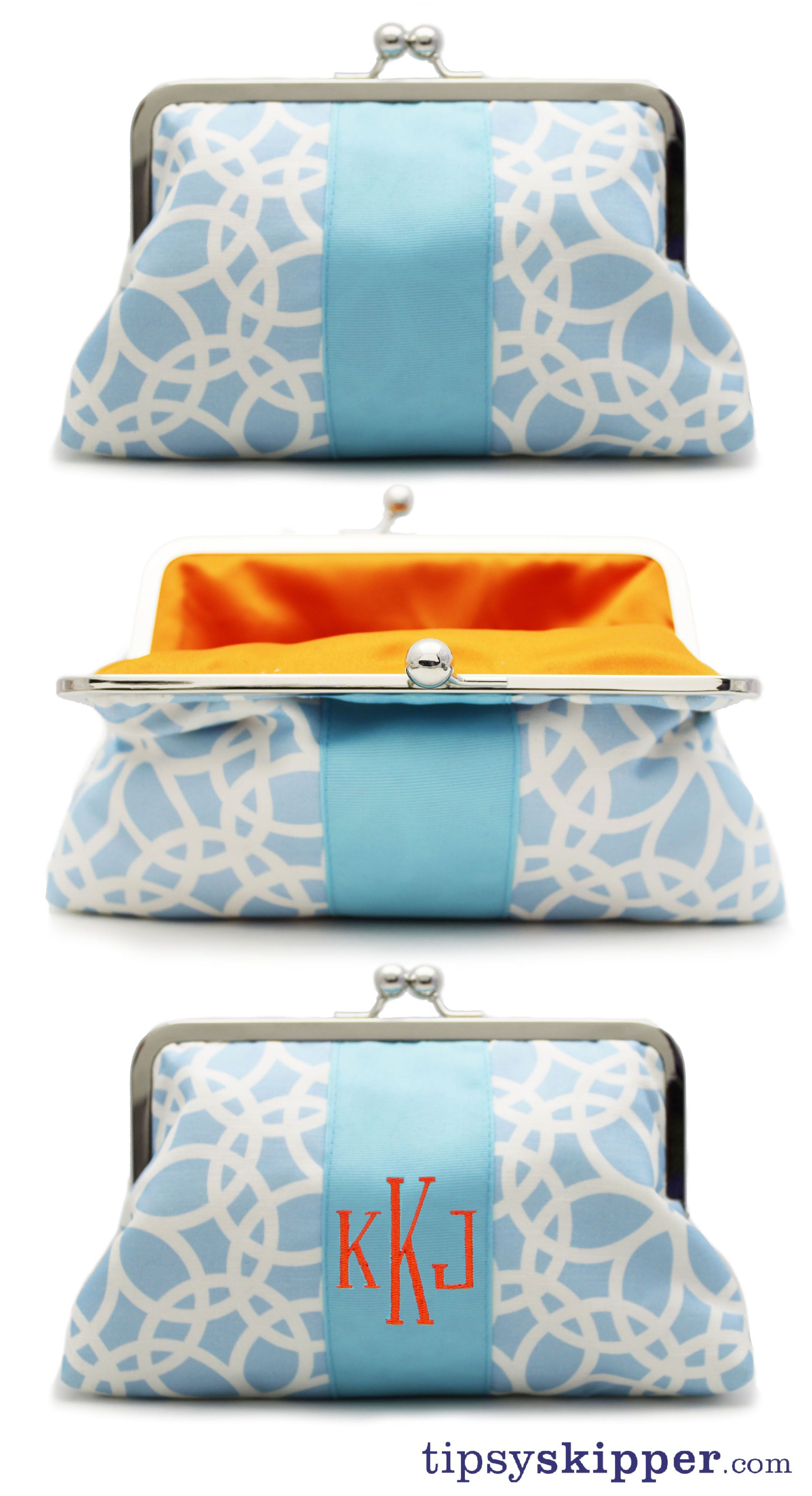 Tipsy Skipper is excited to release our newest Captain Morgan Clutch. Our classic 'Looped' print with an aqua ribbon and bright orange interior. Inspired by one of our customers in December for a custom Christmas present. We love it when our customers become the designer!    And we monogram!