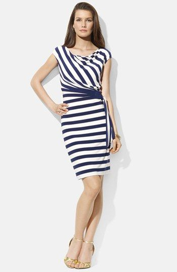 Lauren Ralph Stripe Side Tie Drape Neck Jersey Dress Available At Nordstrom