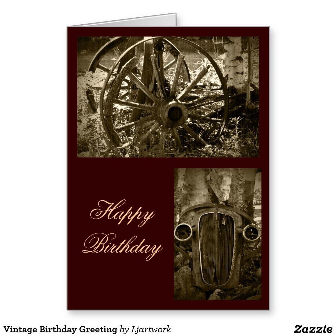Vintage Birthday Greeting Greeting Card