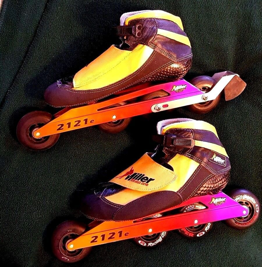 8ee5a244ca6780 Rare INLINE SPEED SKATES 10 MENS ELITE MILLER SPORTS BOOT 4 WHEELs 2121e  Frame  Miller  StreetLongDistanceRink