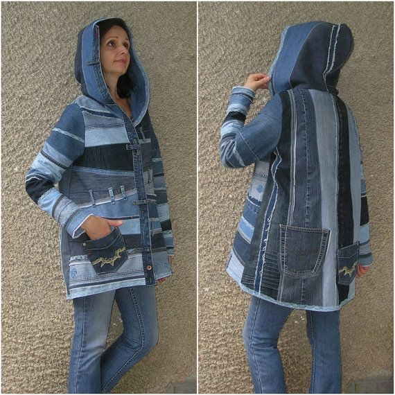 hooded jacket upcycled clothing by ecoclo denim collection size s n hen pinterest. Black Bedroom Furniture Sets. Home Design Ideas