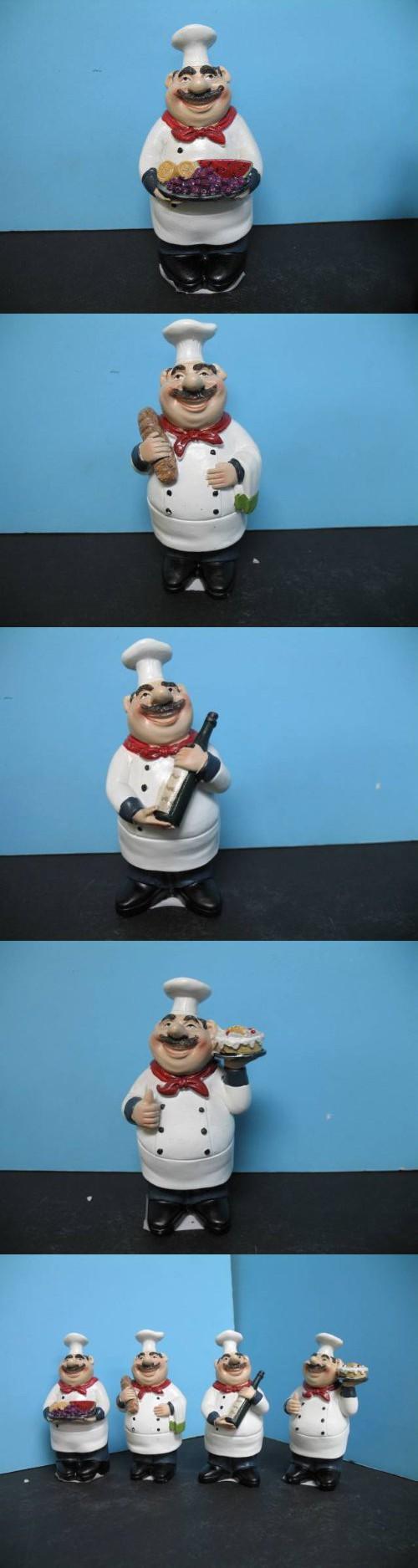 4 pcs Italian FAT Chef figurine BISTRO DECOR home NEW Bar Waiter ...