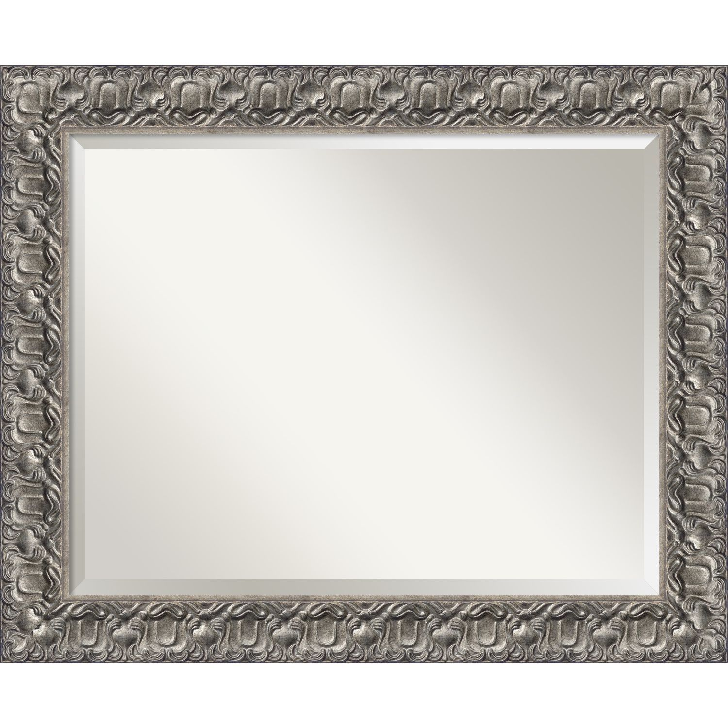This mirror features an ornate silver frame with a gentle floral ...